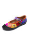 Socofy Retro Bohemian Flower Print Genuine Leather Splicing Colorful Hook Loop Mary Jane Comfy Soft Flats - Yellow