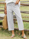 Striped Print Front Button Pocket Loose Casual Pants For Women - Gray