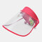 COLLROWN Transparent Screen Sun Hat Empty Top Hat Big Brim Cover Face Hat - Rose