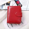Women PU Leather Multi-card Slots Photo Card Money Clip Wallet - Wine Red