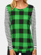Plaid Striped Print Patchwork Long Sleeve Casual T-shirt for Women - Green
