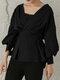 Solid V-neck Lantern Long Sleeve Knotted Loose Women Blouse - Black