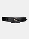 Women Leather Solid Color Pin Buckle Fashion Decorative Wide Belt - Black