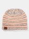Women Wool Stripe Pattern Keep Warm Empty Top Ear Protection Knitted Hat - Pink