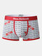 Mens Allover Letter Print Breathable Comfy Boxers Briefs - White