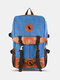Release Buckle Decor Canvas Large Capacity Travel  Multi-Carry Laptop Bag Backpack For College Students Men Women - Blue