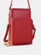 Simple All-match Multi-slots Stitch Detail Multi-pockets Touch Screen 6.8 Inch Phone Bag - Red