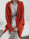 Solid Color Hooded Sweater Coat With Side Pockets For Women - Red