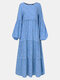 Women Ethnic Floral Print Patchwork Puff Long Sleeves O-neck Dress - Blue