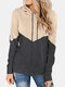 Patchwork Hooded Long Sleeve Casual Hoodies For Women - Apricot