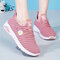 Women Letter Pattern Fabric Breathable Wearable Sports Casual Sneakers - Pink 1