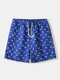 Banana Pattern Printing Beachwear Drawstring Blue Quick Drying Swim Trunks for Men - Blue