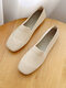 Women Solid Mesh Hollow Out Stitching Shoes Comfy Soft Flats - Beige