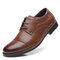 Men Cap Toe Leather Non Slip Large Size Casual Formal Shoes - Brown