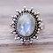 Vintage Geometric Natural Noonstone Ring Metal Oval Cobblestone Finger Ring - Silver