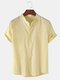 Mens Breathable Flax Stand Collar Solid Color Short Sleeve Shirt - Khaki