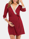 Maternity Lace Spliced Lace-up Three Quarter Sleeves Nursing Pajama Dress - Red