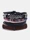 4個の多層レザーメンズブレスレットセット手織りツリーレターレディースビーズブレスレット - #02