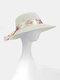 Women Dacron Floral Pattern Bandage Big Brim Sunscreen Breathable Woven Straw Hat - White
