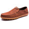 Men Canvas Collapsible Heel Non Slip Large Size Slip On Casual Shoes - Brown
