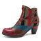 SOCOFY Bohemian Splicing Pattern Block Zipper Ankle Leather Boots - Rust Red