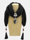 Bohemian Drop Shape Gem Pendant Scarf Necklace Women Tassel Multi-layer Necklace - #06