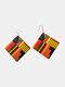 Madera vendimia Cuadrado Pendientes Grabado gráfico Impresión exagerada Pendientes - naranja