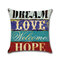 Vintage Mediterranean Hand-Painted Letters Cushion Cover Linen Throw Pillow Car Home Decoration Decorative Pillowcase - #6
