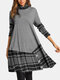Plaid Long Sleeve Pile Collar Patchwork Midi Dress For Women - Gray