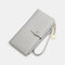 Women PU Leather Multi-card Slots Phone Bag Money Clip Wallet Purse - Grey