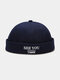 Unisex Cotton Solid Color Letter Embroidery All-match Brimless Beanie Landlord Cap Skull Cap - Navy