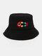 Women & Men Woolen Embroidery Fish Bone Cute Casual Bucket Hat - Black