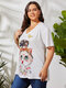 Cartoon Cat Butterfly Print V-neck Short Sleeve Plus Size Casual T-Shirt for Women - White