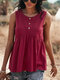 Solid Color Sleeveless Button O-neck Casual Tank Top For Women - Wine Red