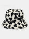 Women & Men Wool Soft Warm Casual All-match Cute Cow Pattern Bucket Hat - #04