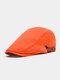 Men Cotton Solid Color Casual All-match Beret Flat Cap - Orange