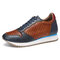 SOCOFY Retro Leather Cutout Splicing Stitching Lace Up Causal Sneakers - Blue