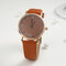 Fashion Cute Women Watches Leather Band Rose Gold Case Large Three-Hand Dial Quartz Watch - Orange
