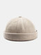 Unisex Cotton Solid Color Letter Cloth Label All-match Warmth Brimless Beanie Landlord Cap Skull Cap - Beige