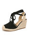 Women Casual Lace Closed Toe Cross Strap Espadrille Wedges - Black