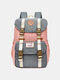 Women Waterproof Patchwork Large Capacity Travel Backpack School Bag - Gray