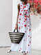 Casual Butterfly Printed O-neck Sleeveless Maxi Dress - White