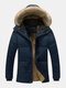 Mens Plush Lined Warm Detachable Faux Fur Collar Hooded Overcoats - Blue