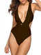Women Sexy One Piece Plunge Cut Out Solid Color Backless Monokini Yellow Swimsuits