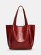 Lightweight Breathable Soft Vintage Large Capacity Magnetic Button Closure Handbag Tote - Wine Red