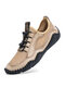 Men Hand Stitching Leather Splicing Mesh Fabric Breathable Soft Non Slip Casual Driving Shoes - Beige