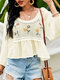 Holiday Floral Embroidery Crochet O-neck Long Sleeve Patchwork Hollow Chiffon Blouse - Beige