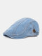 Men Washed Denim Solid Color Stripe Stitching Sunscreen Casual Beret Flat Caps - Striped Light Blue