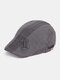 Men Cotton Embroidery Letter Adjustable Casual Beret Hat Forward Hat Flat Hat - Gray