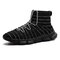 Men Knitted Fabric Breathable High Top Sport Running Sneakers - Black